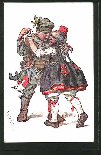 Künstler-AK Emil Beithan: Soldat zeigt der Frau stolz das Eiserne Kreuz