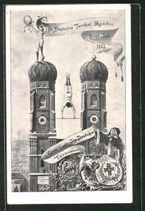 AK München, Ganzsache, PP72C1, 13. Deutsches Turnfest 1923, Athlet turnt an der Frauenkirche