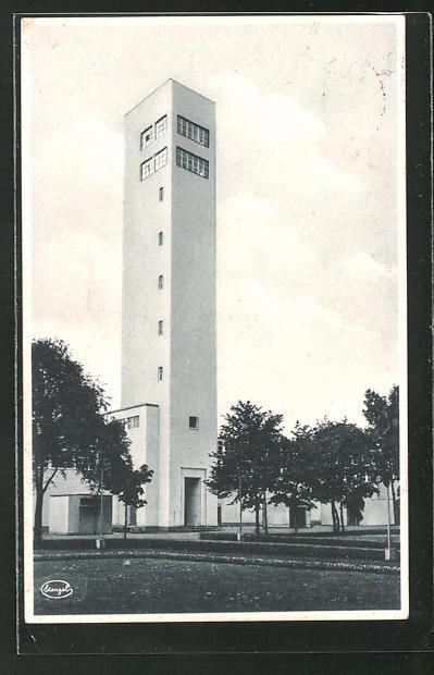 AK Dresden, Jahresschau Deutscher Arbeit 1927, Der sprechende Turm, Bauhaus