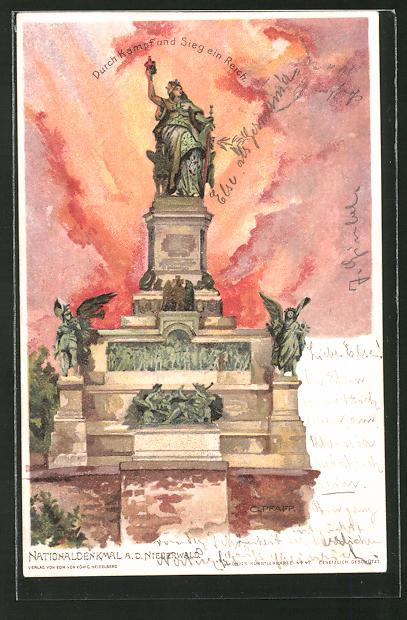 Künstler-AK C. Pfaff: Nationaldenkmal a. d. Niederwald