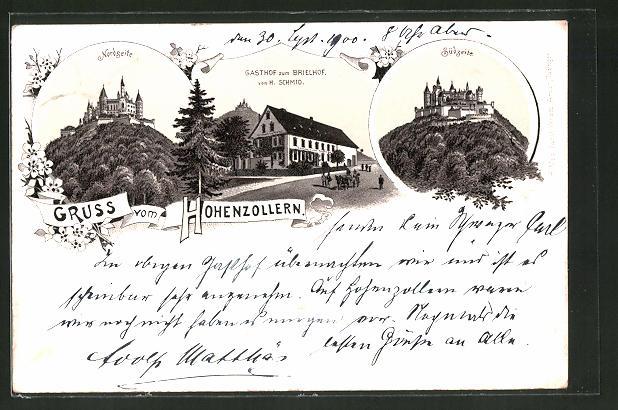 Lithographie Schloss Hohenzollern, Gasthof zum Brielhof