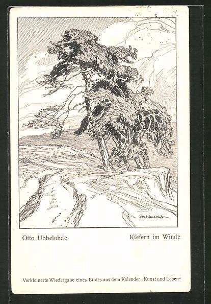 Künstler-AK Otto Ubbelohde: Kiefern im Winde