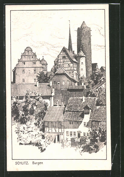 Künstler-AK Otto Ubbelohde: Schlitz, Blick auf die Burgen