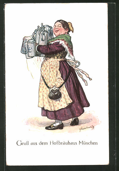 Künstler-AK Fritz Quidenus: München, Gasthaus Hofbräuhaus, Wirtin mit Bierkrügen