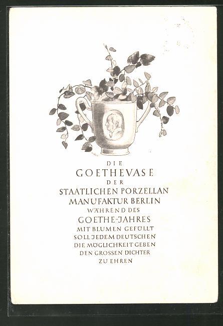 AK Berlin, Goethevase der Staatlichen Porzellan Manufaktur, Wegeley-Strasse 1