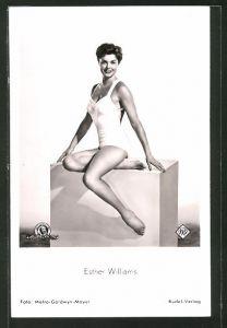 AK Schauspielerin Esther Williams im Badeanzug
