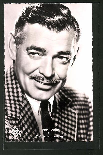 AK Schauspieler Clark Gable mit Schnauzer im karierten Anzug