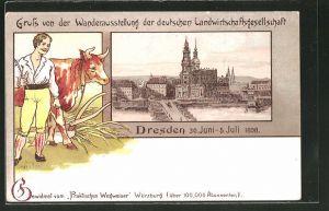 Lithographie Dresden, Wanderausstellung der deutschen Landwirtschaftsgesellschaft 1898, Kath. Hofkirche