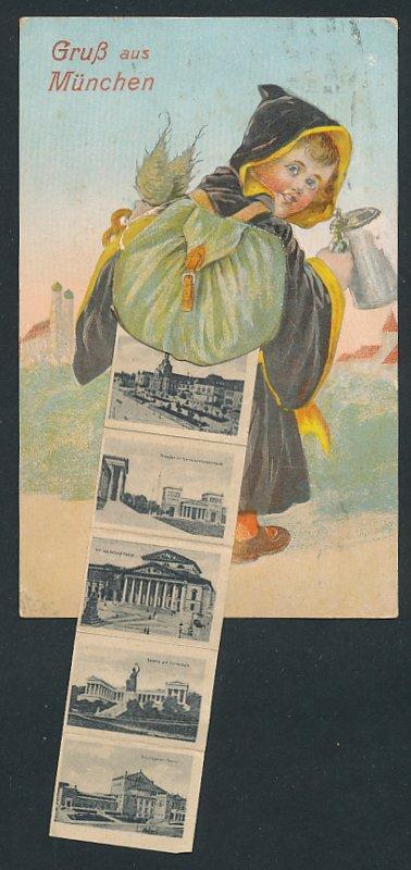 AK München, Münchner Kindl mit Rucksack voller Stadtansichten, Maximilianeum, Rathaus