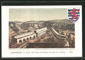 AK Luxembourg, Le Bock, vue prise au-dessus du pont du château 1835 mit Wappen