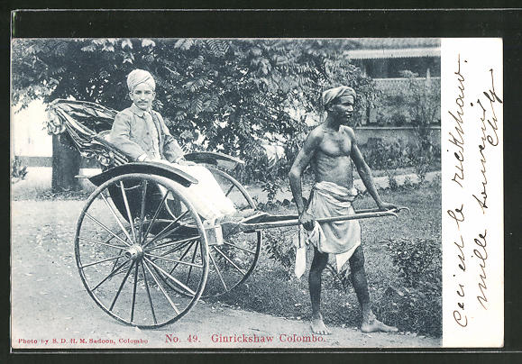 AK Colombo, Ginrickshaw, Fahrt in der Rikscha