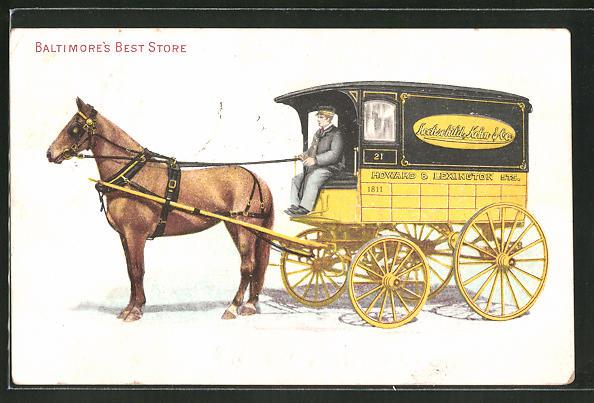 AK Baltimore, MD, Pferdekutsche des Kaufhauses Howard & Lexington Sts.
