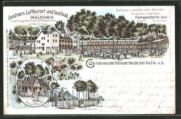 Lithographie Halle / Saale, Gasthaus Waldhaus, Dölauer Heide, Knusperhäuschen, Kinderspielplatz