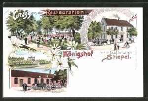 Lithographie Bochum, Restaurant Königshof v. G. Stiepel, Hochbassin, Fabrik landwirtschaftlicher Maschinen