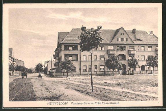 AK Hennigsdorf, Fontane-Strasse Ecke Feld-Strasse
