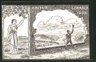 Künstler-AK Lörrach, Absolvia 1908, Blick zum Ort