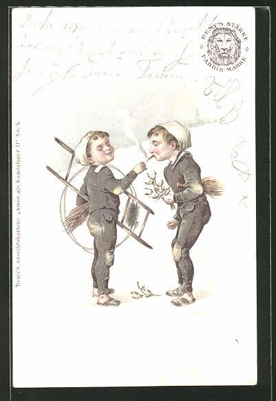 Lithographie Junge Schornsteinfeger beim Rauchen