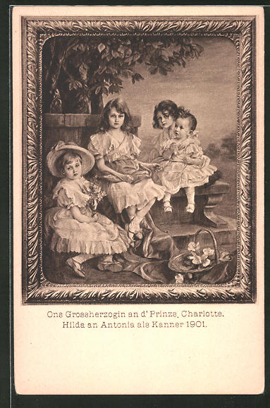 AK Adel von Luxemburg, Grossherzogin an d' Prinzs, Charlotte, Hilda an Antonia als Kanner 1901