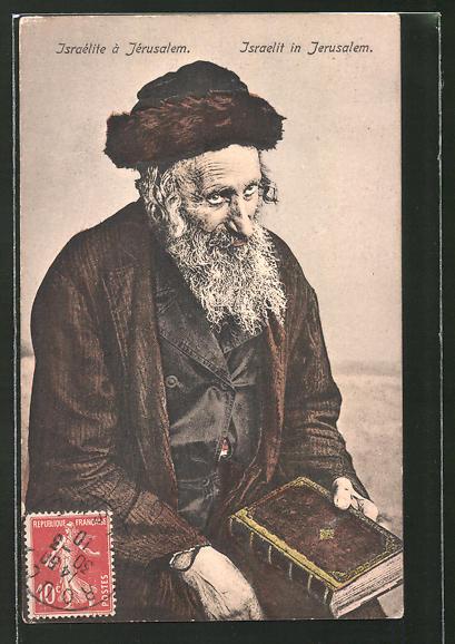 AK Jerusalem, Alter Jude mit der hebräischen Bibel