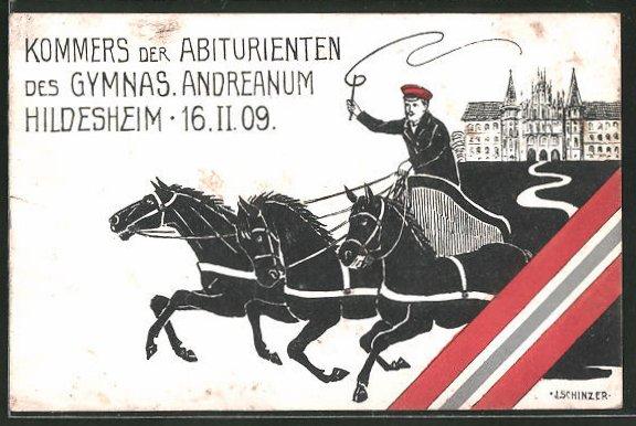 Künstler-AK Hildesheim, Kommers der Abiturienten des Gymnasiums Andreanum 16.2.1909, Absolvia