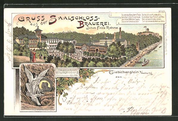 Lithographie Halle / Saale, Saalschlos-Brauerei und Gasthof von Fritz Rahne