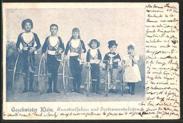 AK Geschwister Klein, Kunstradfahrer und Instrumentalisten