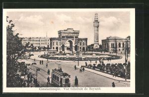 AK Constantinople, Vue Générale de Bayazid, Strassenbahn