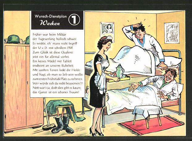 AK Wunsch-Dienstplan 1 Wecken, Soldatenhumor, Soldaten werden von einem Dienstmädchen geweckt