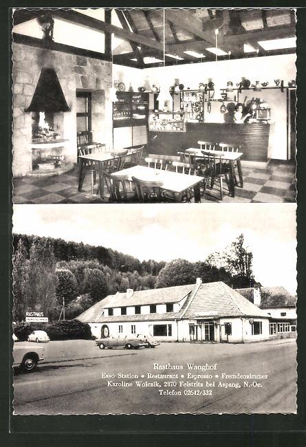 AK Rasthaus Wanghof, Esso Station, Innen- und Aussenansicht
