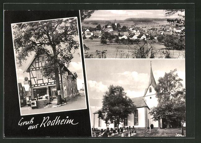 AK Rodheim, Ortsansicht, Kirche mit Friedhof, Geschäft