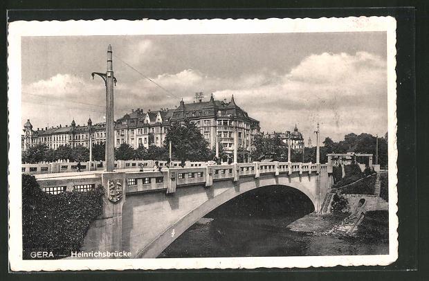AK Gera, Blick über die Heinrichsbrücke zur Stadt