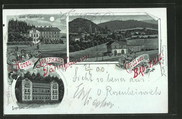 Mondschein-Lithographie Bad-Thal, Bahnhof, Hotel Tannhäuser & Logierhaus Tannhäuser