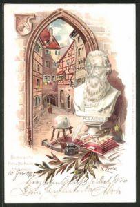 Präge-AK Nürnberg, Strasse mit Hans Sachsens Wohnhaus, Büste von H. Sachs