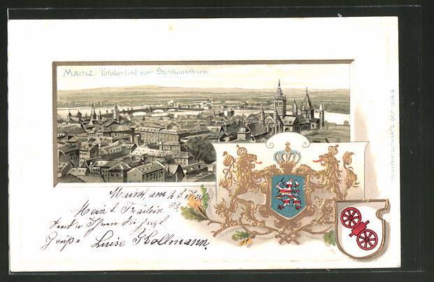 Passepartout-Lithographie Mainz, Totalansicht vom Stephansthurm, Wappen