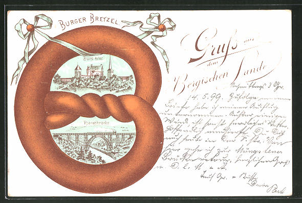 Passepartout-Lithographie Solingen, Burger Bretzel, Burg a. W., Riesenbrücke