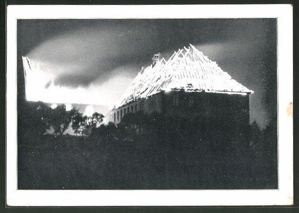 AK Eibingen, Brandkatastrophe vom 3. September 1932, Der Turm stürzt ein