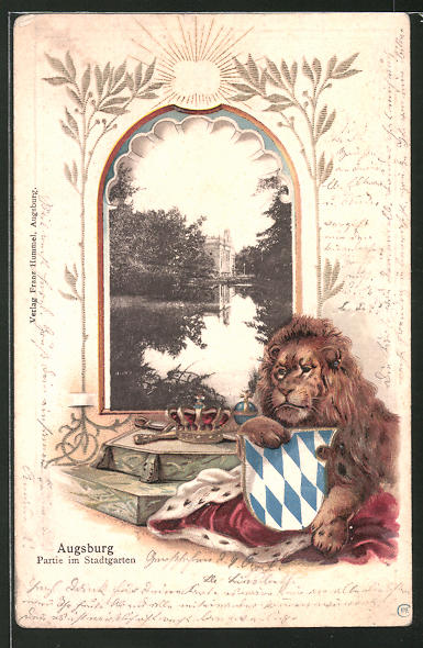 Passepartout-Lithographie Augsburg, Partie im Stadtgarten, Löwe mit Wappen