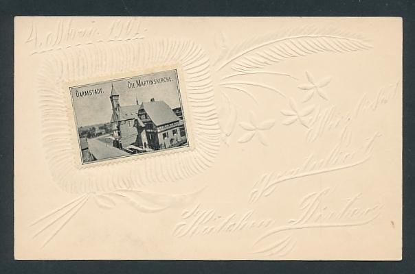 Papierkunst-AK Darmstadt, Ansicht der Martinskirche, florale Ornamentik