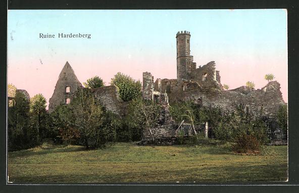 Goldfenster-AK Nörten-Hardenberg, Ruine Hardenberg mit leuchtenden Fenstern
