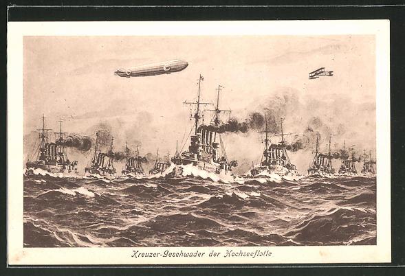 AK Kreuzer-Grossgeschwader der Hochseeflotte, Zeppelin und Wasserflugzeug