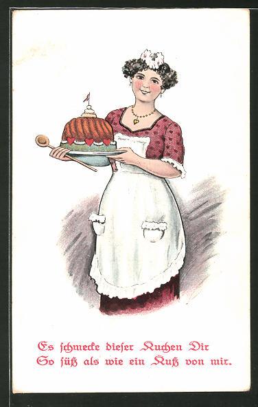 AK Bäckerin mit einem Kuchen für den Liebsten