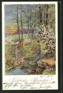 Luna-AK Mann hilft seiner Liebsten über einen Fluss