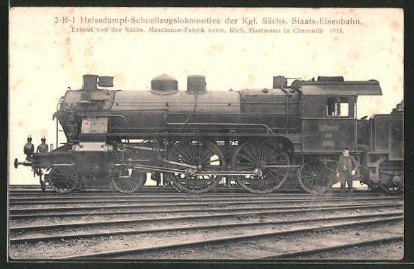 AK Eisenbahn, 2-B-1 Heissdampf-Schnellzugslokomotive der Kgl. Sächs. Staats-Eisenbahn