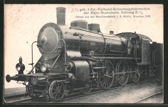 AK Eisenbahn, 3 /5 gek. 4 Zyl.-Verbund-Schnellzugslokomotive der Bayr. Staatsbahn, Gattung S 3 /5