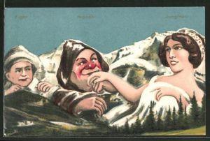 Künstler-AK Mönch küsst der Jungfrau die Hand, eifersüchtiger Eiger, Berg mit Gesicht / Berggesichter