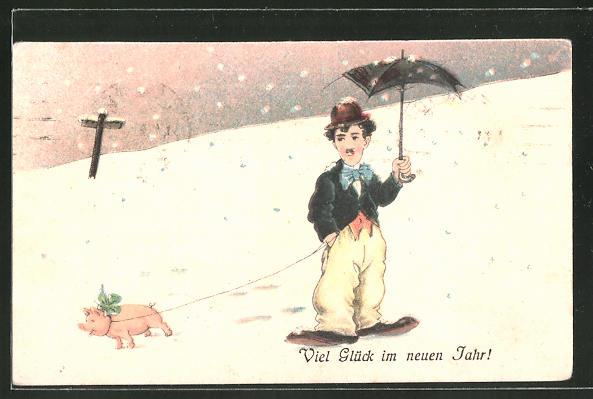 AK Schauspieler Charlie Chaplin mit Schweinchen an der Leine