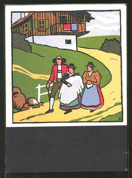 Künstler-AK sign. Carl Camus: Tiroler Bauernleben, Tiroler in Tracht auf einer Strasse