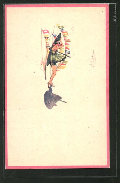 Künstler-AK Dame mit Sonnenschirm vor wehenden Wimpeln, Jugendstil