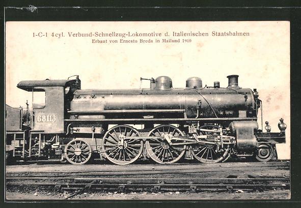 AK 1-C-1 4 cyl. Verbund-Schnellzug-Lokomotive der Italienischen Staatsbahn, Ernest Breda, Mailand 1910