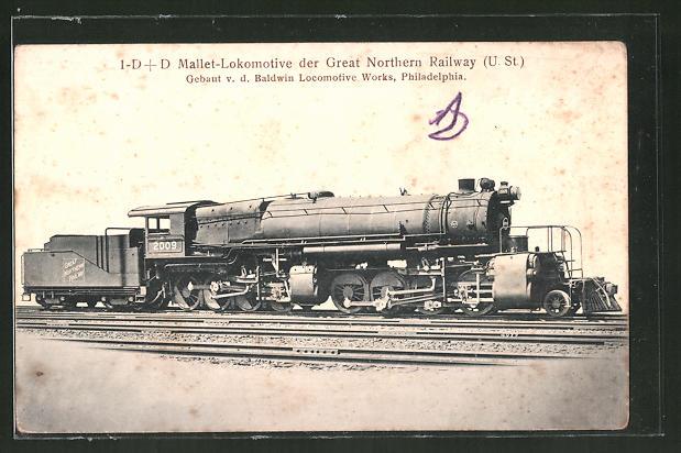 AK 1-D+D Mallet-Lokomotive der Great Northern Railway, US, Baldwin Locomotive Works, Philadelphia
